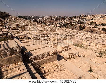 JERUSALEM ISRAEL - July 13 2015: Old jewish graves on the mount of olives in Jerusalem