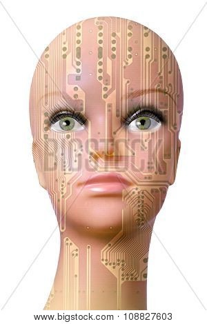 Female Cyborg Head Isolated On White Background