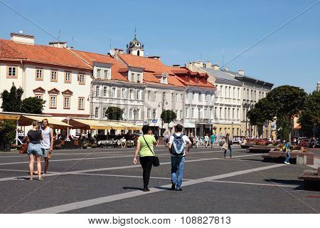 The Town Hall Square In Vilnius, Lithuania.
