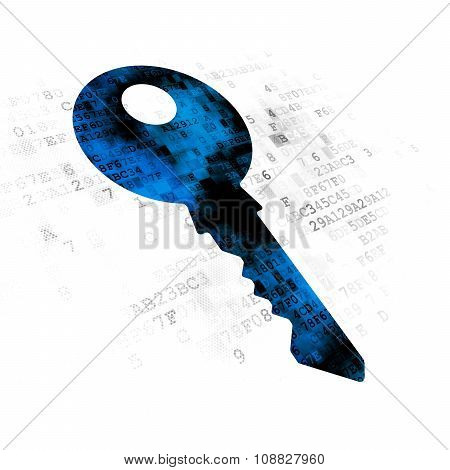 Privacy concept: Key on Digital background