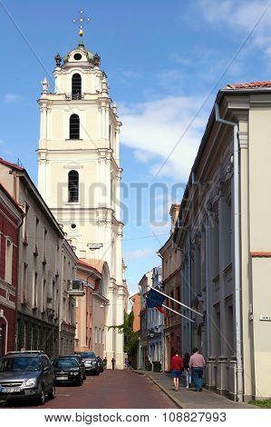 Old Town Streets And St John's Church In Vilnius University, Vilnius, Lithuania.