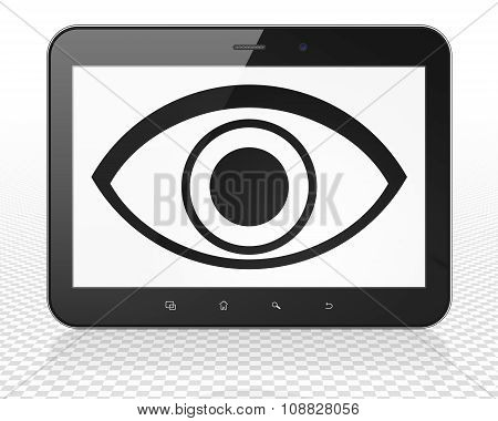Privacy concept: Tablet Pc Computer with Eye on display