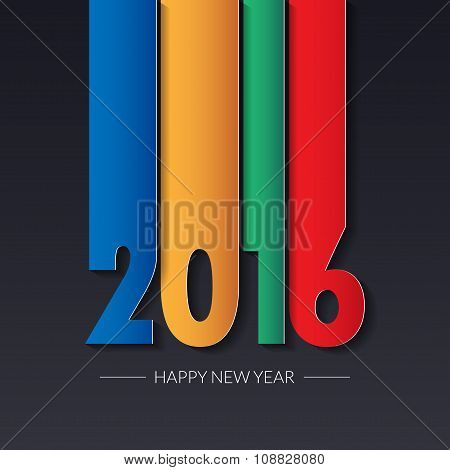 Happy New 2016 Year. Greetings Card. Colorful Design. Vector Illustration