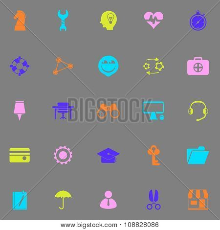 Human Resource Color Icons On Grey Background