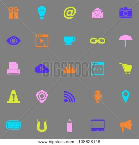 Internet Website Color Icons On Grey Background
