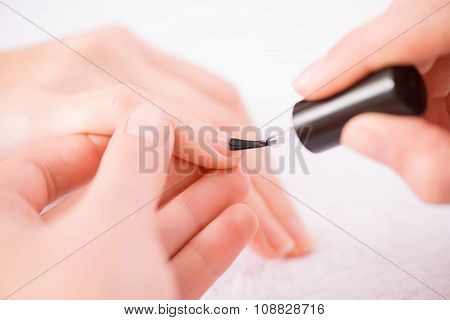 Professional manicurist making manicure