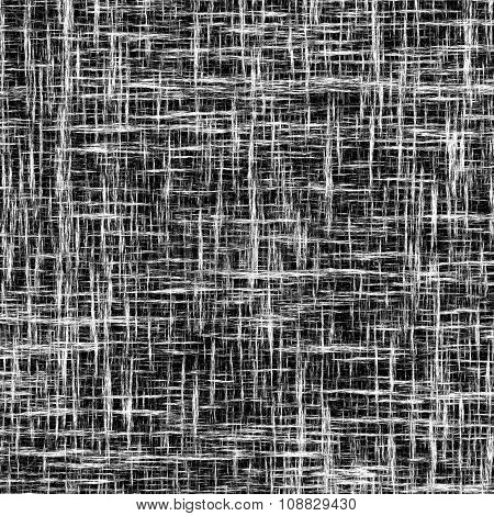 Black And White Monochrome Abstract Background With  Grunge Striped Intersecting Stripes