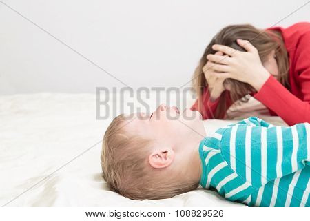 mother is tired, child crying
