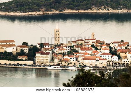 View Of The Town Of Rab, Croatian Tourist Resort.