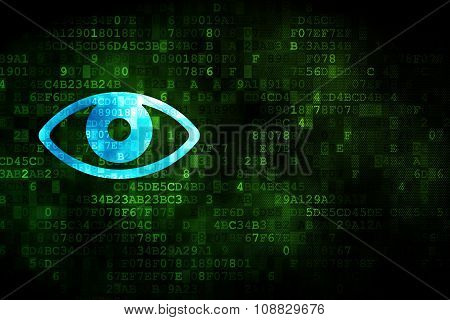 Safety concept: Eye on digital background