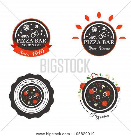 Pizzeria Restaurant Shop Design Element in Vintage Style for Logotype, Label, Badge, Tshirts and oth