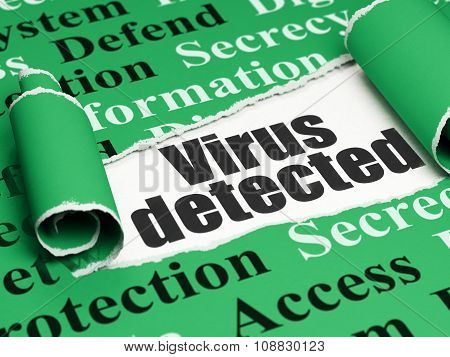 Protection concept: black text Virus Detected under the piece of  torn paper