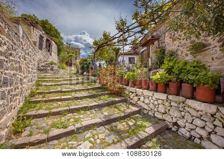 Rock Staircase With Gardens On Lesbos Island Greece