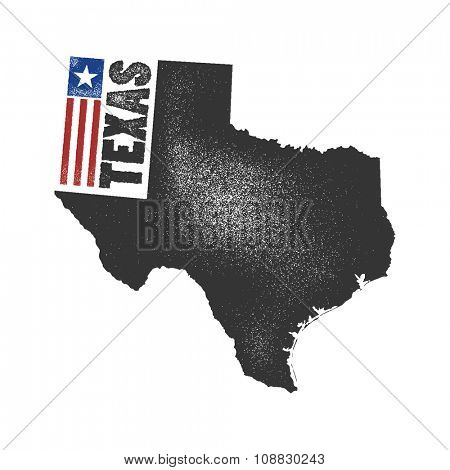 Texas. Vector illustration in grunge style. Element for your design.