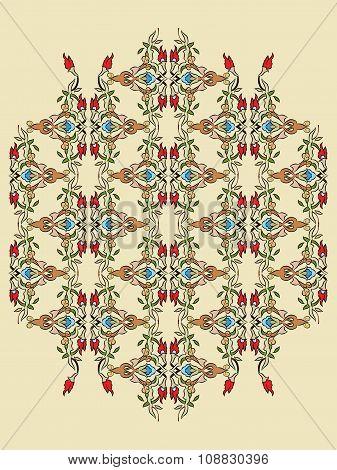 Antique Ottoman Turkish Pattern Vector Design Twelve