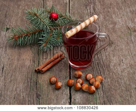 Coniferous Branch, Tea, Linking Of Cinnamon And Nutlets