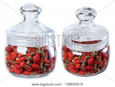Dried Wild Rose In A Glass Jar, Isolate On A White Background In Two Ways.