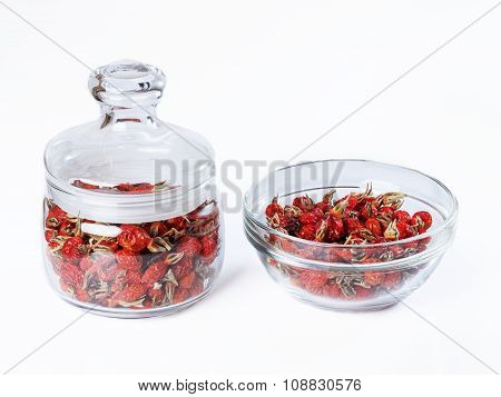 Dried Wild Rose In A Glass Jar, Rosehips Dried In A Glass Bowl On White Basis.