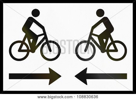 Norwegian Supplementary Road Sign - Bicycle Traffic In Both Directions