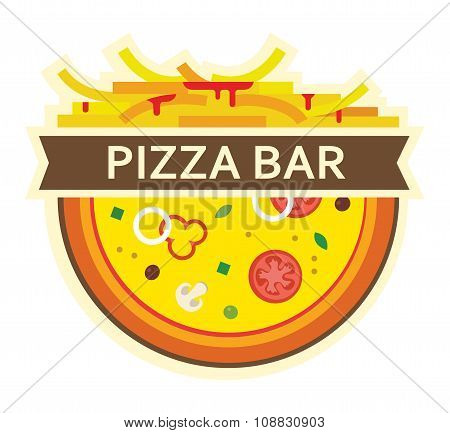 pizza and fries. icon for pizza bar