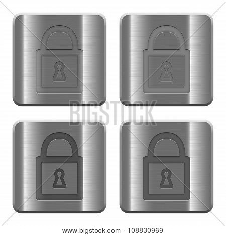 Metal Locked Padlock Buttons