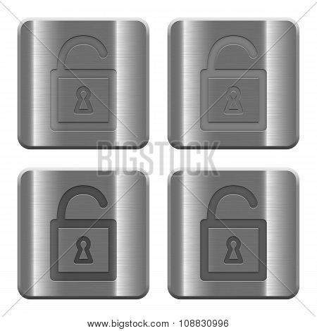 Metal Unlocked Padlock Buttons