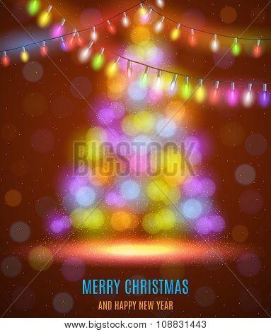 Shiny fir tree with Christmas lights.