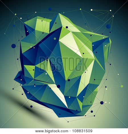 Vector Digital 3D Abstraction, Lattice Geometric Polygonal Misshapen Template. Emerald Perspective W