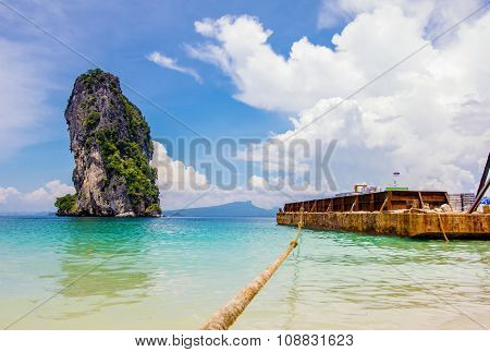 Break buld carrier on the beautiful beach, Poda island krabi,South Thailand