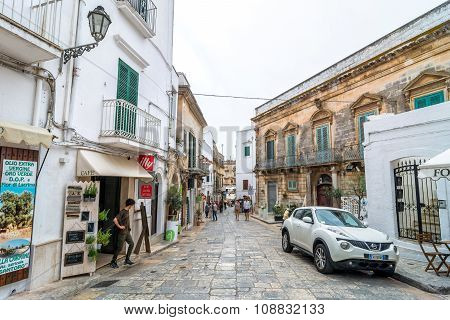 Typical White Street In Ostuni, Italy