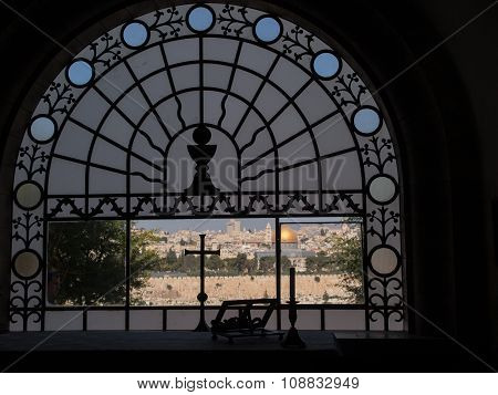 View From Dominus Flevit Church Located On The Mountain Of Olives On The Old Part Of City Jerusalem.