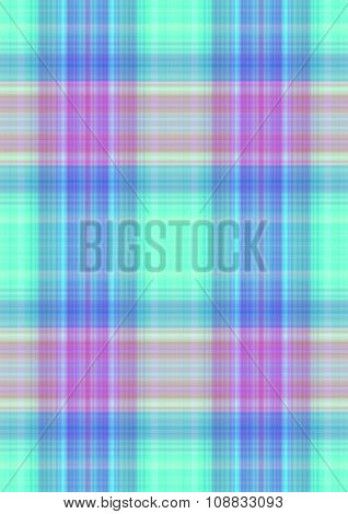 Checkered greenish background with purple,orange and blue stripes