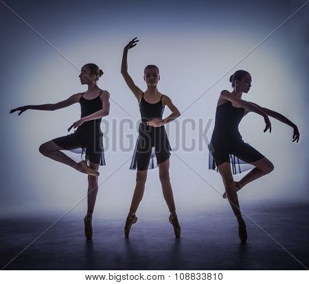 The silhouettes of young ballet dancers posing on a gray background.