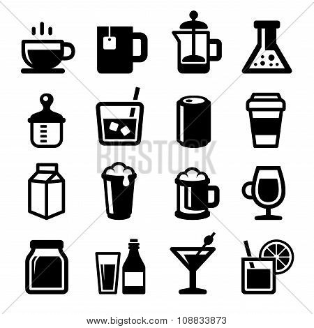 Drinks Icons Set on White Background. Vector