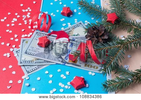 Bank Note With Santa Claus And Spruce. Christmas Background