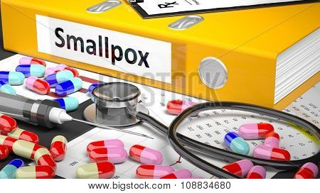 Illustration of doctor's desktop with different pills, capsules, statoscope, syringe, yellow folder with label 'Smallpox'