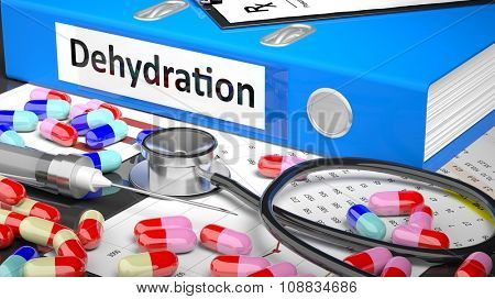 Illustration of doctor's desktop with different pills, capsules, statoscope, syringe, blue folder with label 'Dehydration'