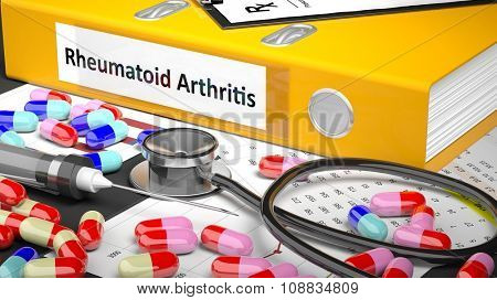 Illustration of doctor's desktop with different pills, capsules, statoscope, syringe, yellow folder with label 'Rheumatoid Arthritis'