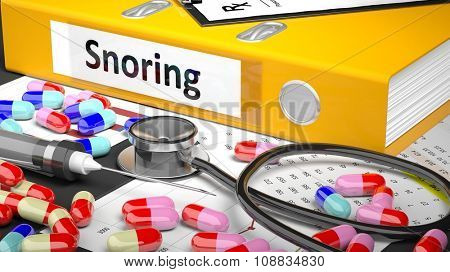 Illustration of doctor's desktop with different pills, capsules, statoscope, syringe, yellow folder with label 'Snoring'