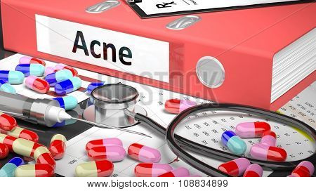 Illustration of doctor's desktop with different pills, capsules, statoscope, syringe, pale red folder with label 'Acne'