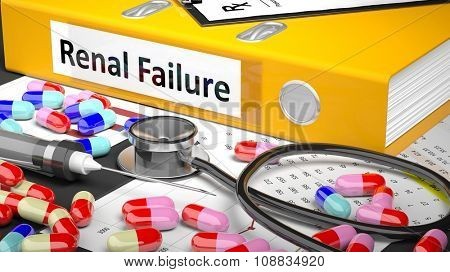 Illustration of doctor's desktop with different pills, capsules, statoscope, syringe, yellow folder with label 'Renal Failure'