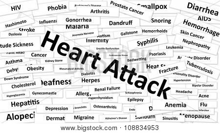 A disease called Heart Attack written in bold type. Black and white words