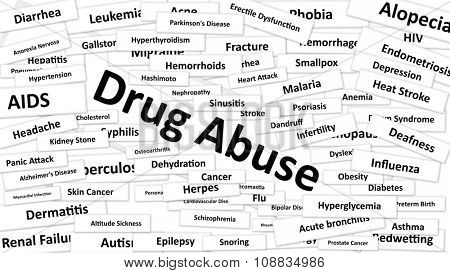 A disease called Drug Abuse written in bold type. Black and white words
