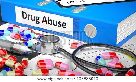 Illustration of doctor's desktop with different pills, capsules, statoscope, syringe, blue folder with label 'Drug Abuse'