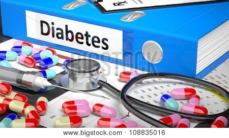 Illustration of doctor's desktop with different pills, capsules, statoscope, syringe, blue folder with label 'Diabetes'