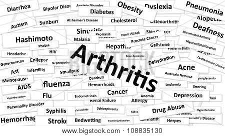 A Disease called Arthritis written in bold type. Black and white words