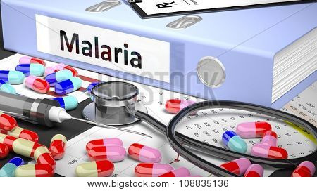 Illustration of doctor's desktop with different pills, capsules, statoscope, syringe, light blue folder with label 'Malaria'