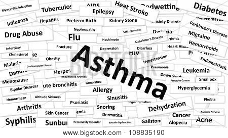 A disease called Asthma written in bold type. Black and white words