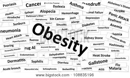 A disease called Obesity written in bold type. Black and white words