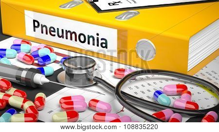 Illustration of doctor's desktop with different pills, capsules, statoscope, syringe, yellow folder with label 'Pneumonia'